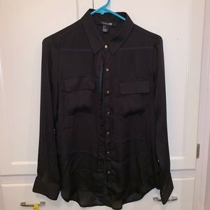Forever 21 sheer black button down blouse